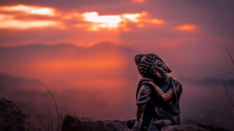 Lord Buddha, Statue, Sunset, Cute figure, Wallpaper