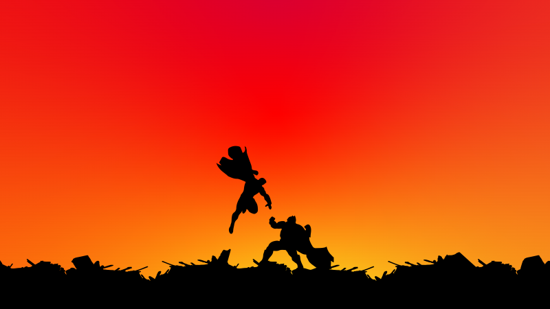 Batman v Superman, Silhouette, Gradient background, 5K, 8K, Wallpaper