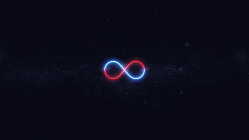 Infinity, Stars, Night sky, Dark background, Illuminated, Glowing, 5K, Wallpaper