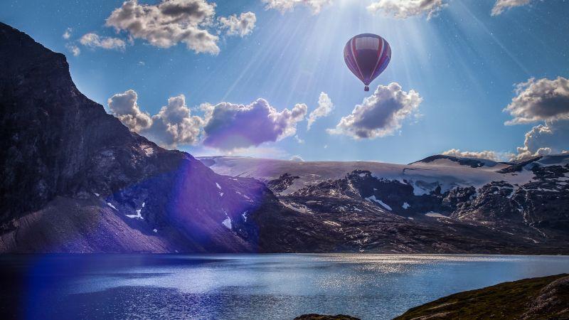 Hot air balloon, Mountains, Lake, Sunrays, Sun light, Clouds, Landscape, Norway, 5K, Wallpaper