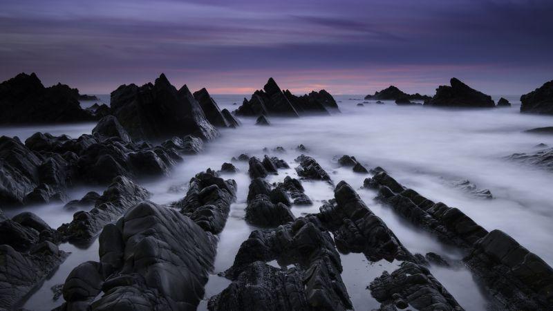 Atlantic coast, Rocky coast, Foggy, Mist, Evening, Dusk, Hartland Quay, Devon, United Kingdom, Scenic, Purple sky, 5K, Wallpaper