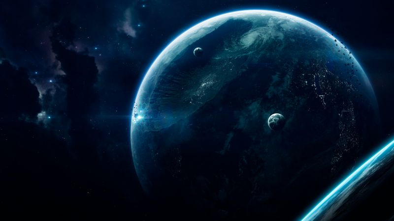 Deep space, Earth, Planets, Crater, Universe, Wallpaper
