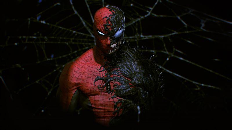 Spider-Man, Venom, Black background, Marvel Superheroes, Marvel Comics, Wallpaper