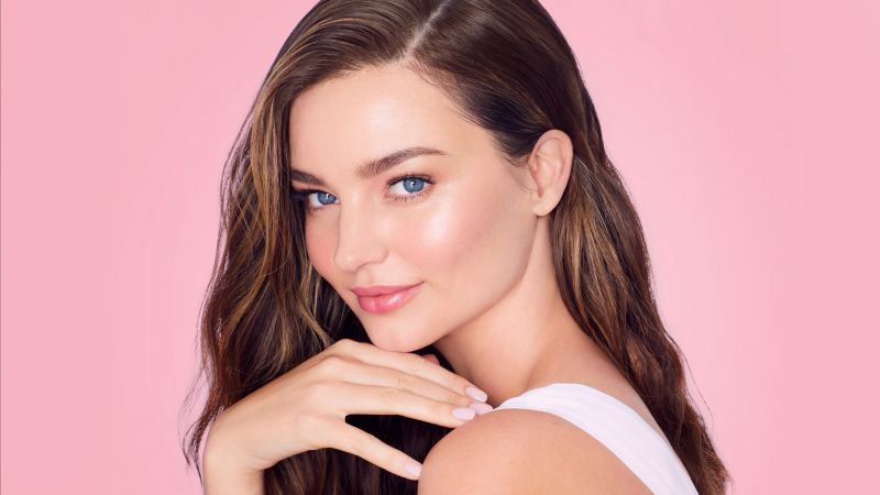 Miranda Kerr, Portrait, Beautiful model, Pink background, Wallpaper