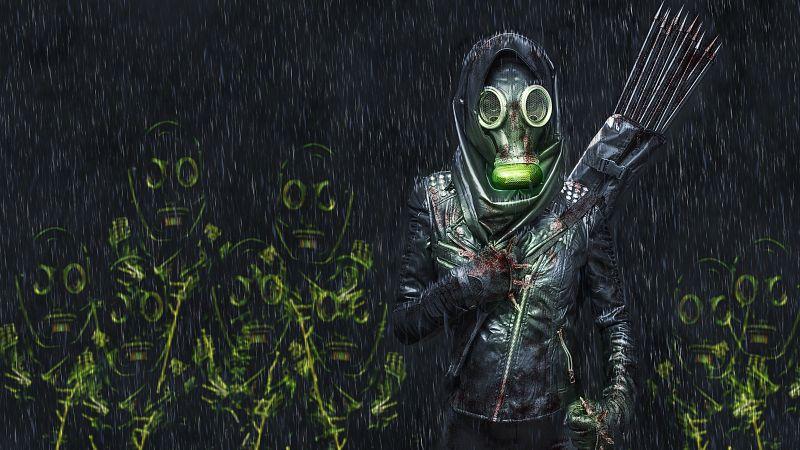 Hunter, Gas mask, Extinction, Arrows, Survivor, Dark, 5K, Wallpaper
