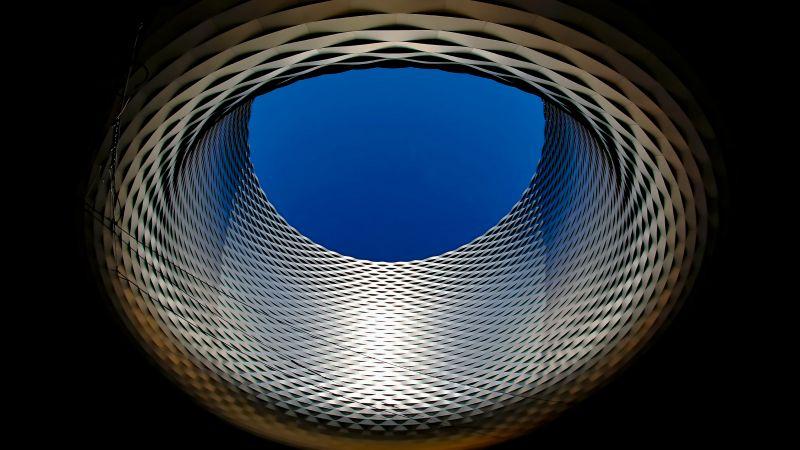 Basel exhibition center, Modern architecture, Sky view, Dark background, Landmark, Switzerland, 5K, Wallpaper