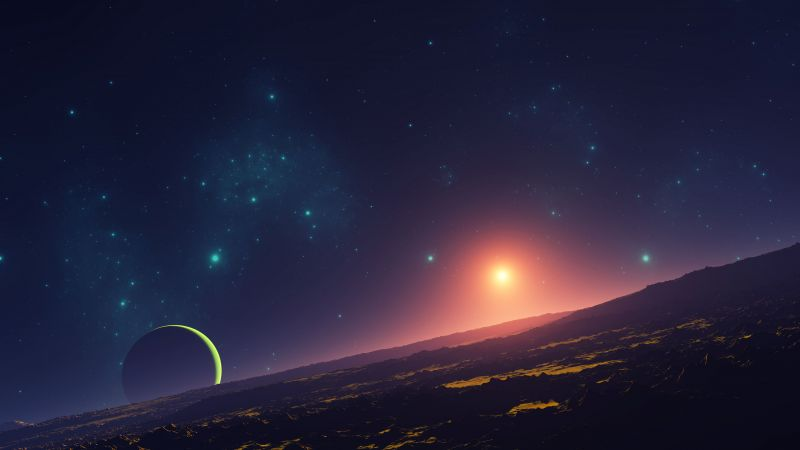 Sunset, Planet, Stars, Space, Aerial view, Astronomy, 5K, 8K, Wallpaper