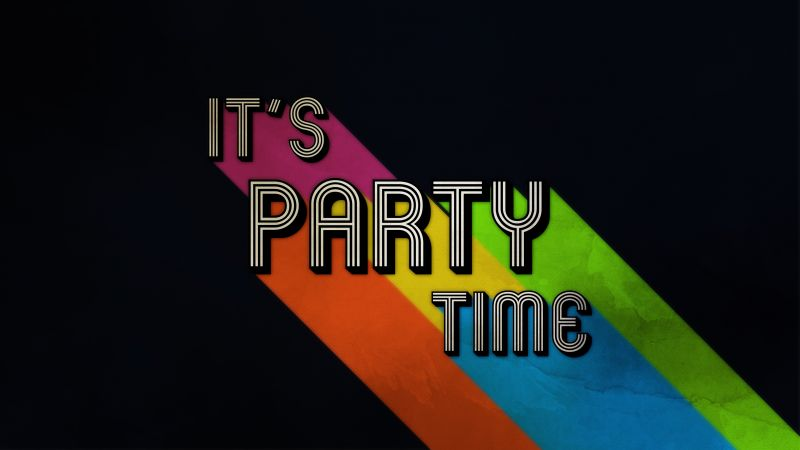 Its Party Time, Black background, Minimal, Colorful, Wallpaper