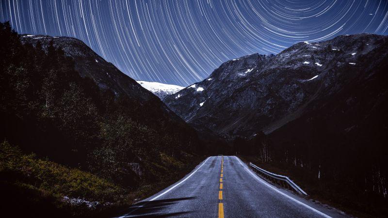 Mountains, Star Trails, Road, Tarmac, Night, Timelapse, Dark, 5K, Wallpaper