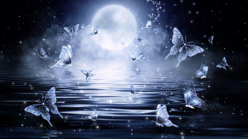 Butterflies, Stars, Moon, Night, Water, Dark background, Illustration, Fairy tale, Wallpaper