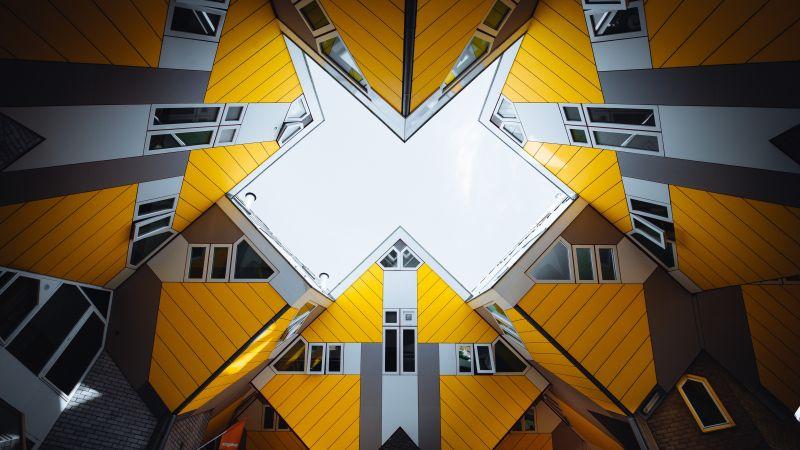 Cube houses, Rotterdam, Netherlands, Yellow, Grey, Geometrical, Symmetry, Skylight, Pattern, 5K, Wallpaper