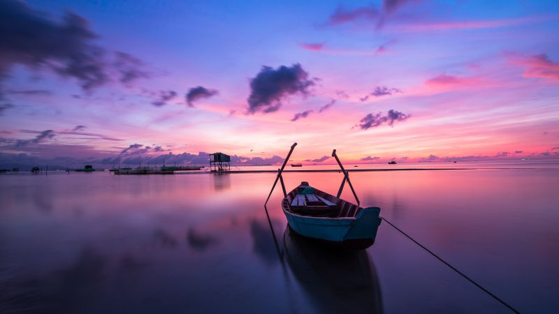 Rowing boat, Sunset, Body of Water, Beach, Reflection, Evening, Dawn, Ocean, Purple sky, Clouds, Seascape, Aesthetic, 5K, Wallpaper