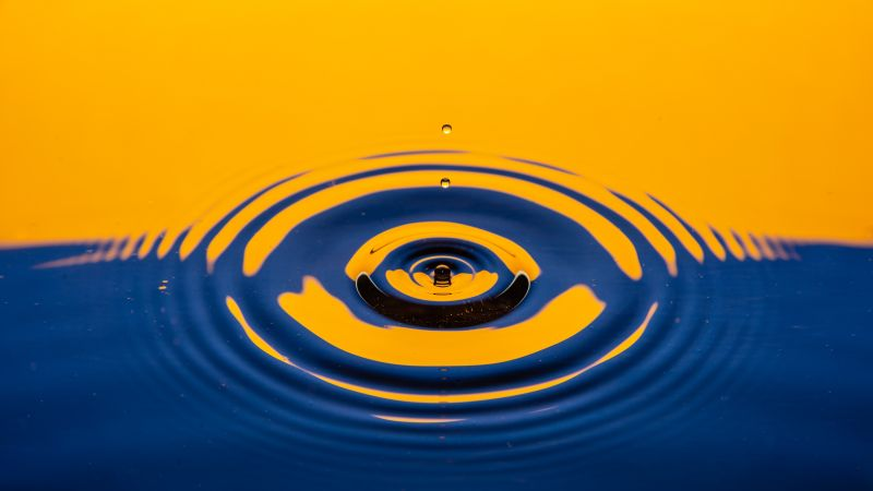 Water drop, Ripple, Blue, Yellow, Abstract, 5K, 8K, Wallpaper