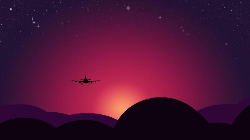 Plane, Sunset, Starry sky, Illustration, Red sky, Wallpaper