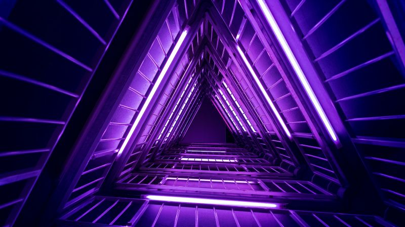 Neon Triangle, Purple light, Low Angle Photography, Look up, Geometrical, Indoor, Neon Lights, Glowing, Vibrant, Triangles, Aesthetic, Wallpaper