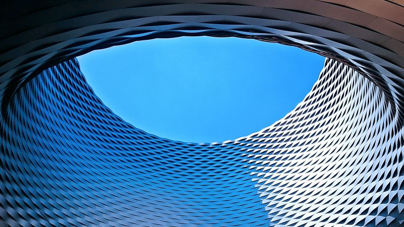Art Basel, Modern architecture, Patterns, Geometrical, Blue Sky, Looking up at Sky, Circle, Texture, Wallpaper
