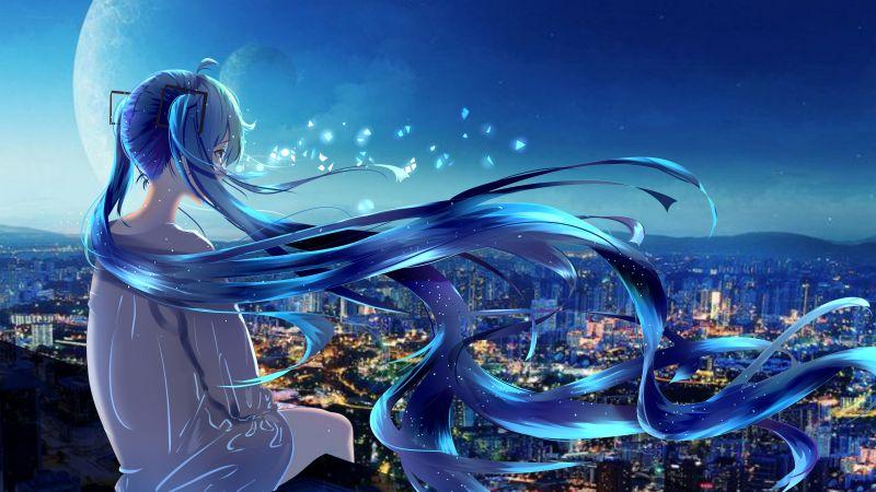 Anime girl, Alone, Fantasy, 5K, Wallpaper