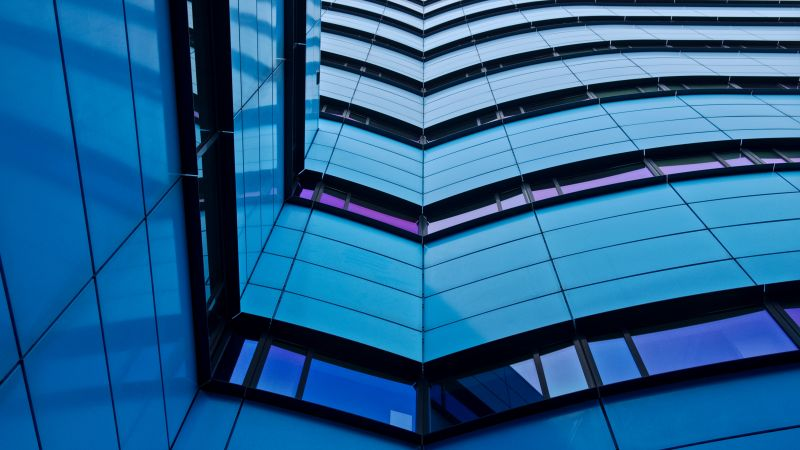 Rijn Tower, Modern architecture, Arnhem, Netherlands, Blue, Low Angle Photography, Pattern, Urban, Metropolitan, 5K, Wallpaper