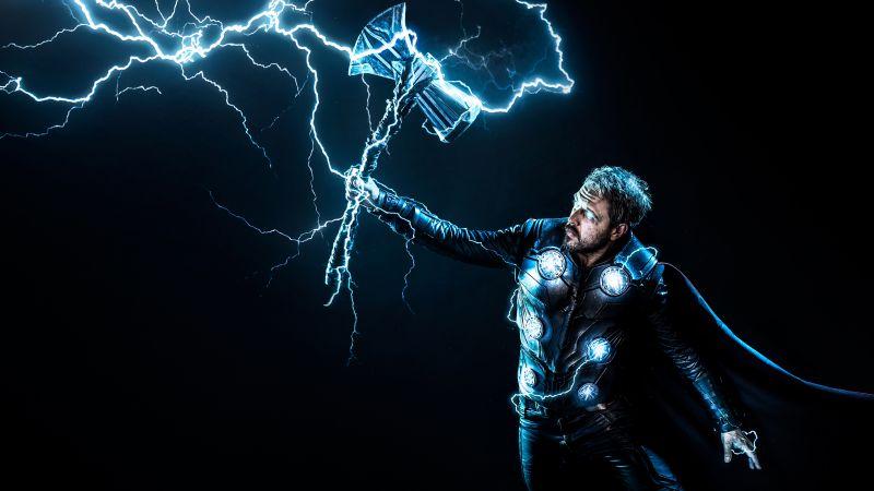 Thor, God of Thunder, Dark background, Marvel Superheroes, Wallpaper