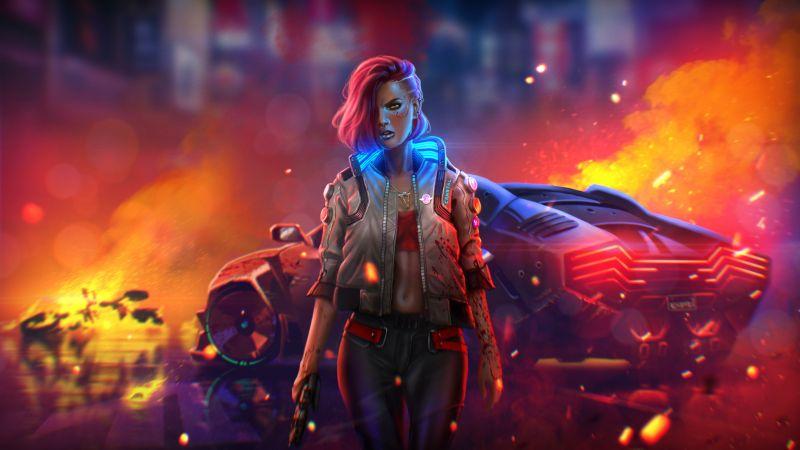 Cyberpunk 2077, Badass, Neon, Fire, Illustration, Wallpaper