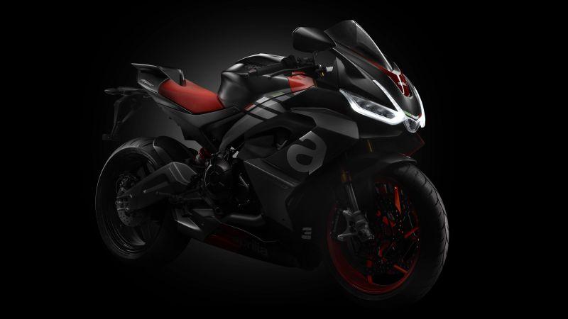 Aprilia RS 660, Sports bikes, Black background, 2021, 5K, Wallpaper