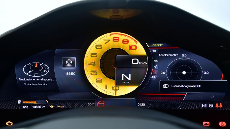 Ferrari Roma, Sports cars, Interior, Cockpit, Instrument Cluster, Speedometer, 2021, 5K, Wallpaper