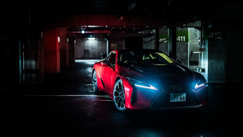 Lexus LC 500, Dark, Red cars, 5K, 8K, Wallpaper