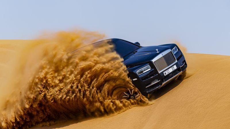 Rolls-Royce Cullinan, Desert, Off-roading, Adventure, 2020, 5K, Wallpaper