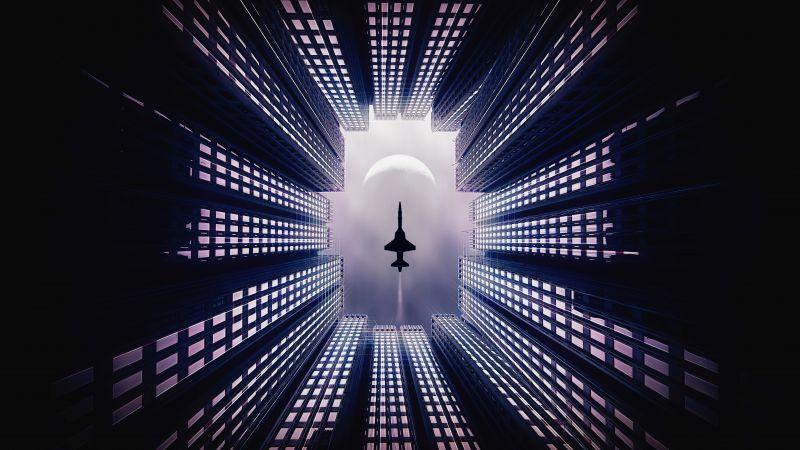Jet fighter, Moon, Buildings, Looking up at Sky, 5K, Wallpaper