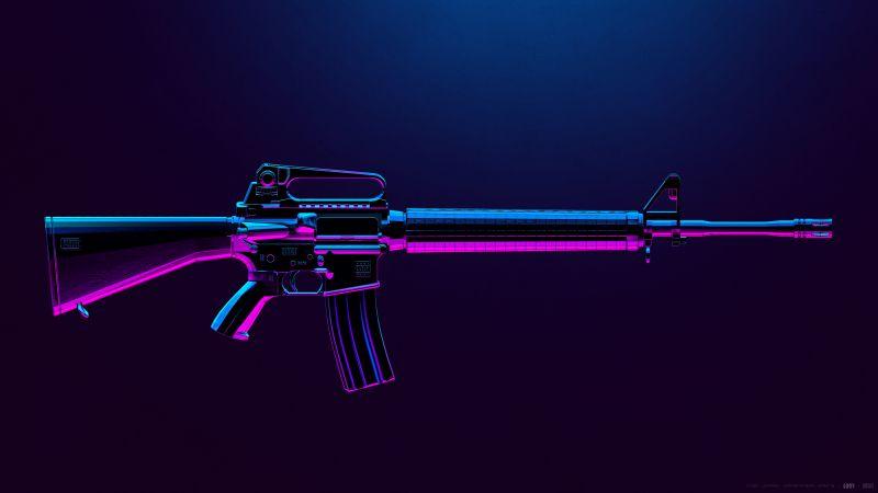 M16A4, PUBG MOBILE, Assault rifle, PlayerUnknown's Battlegrounds, Neon, Wallpaper