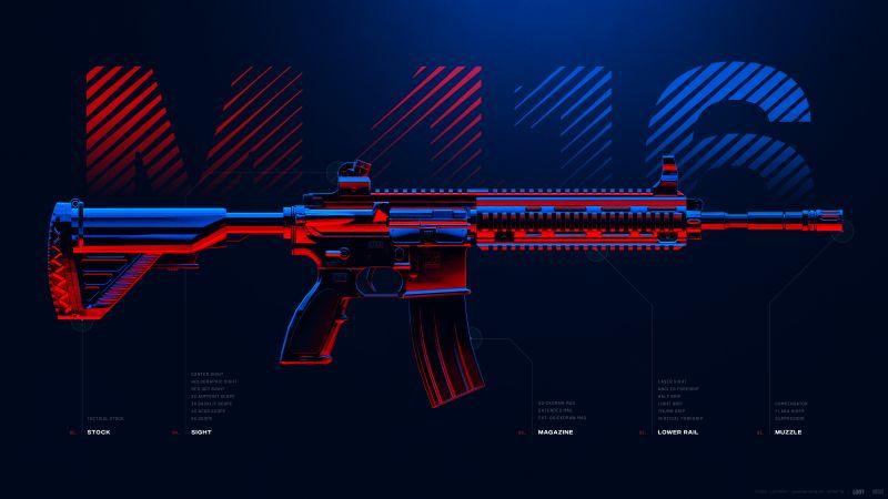 M416, Assault rifle, PUBG MOBILE, PlayerUnknown's Battlegrounds, Wallpaper