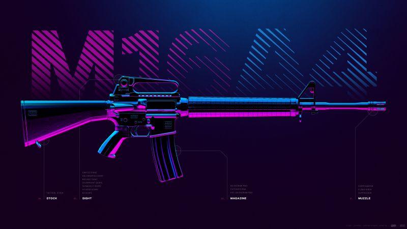 M16A4, Assault rifle, PUBG MOBILE, PlayerUnknown's Battlegrounds, Wallpaper