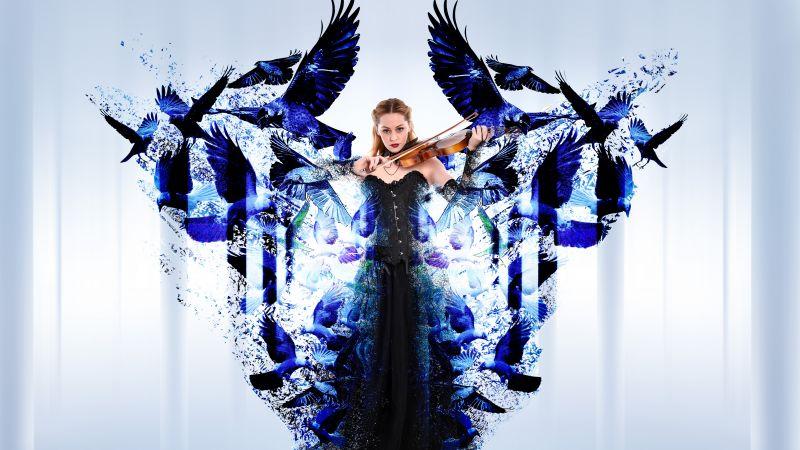 Dream, Woman, Violin, Birds, Surreal, Blue, 5K, 8K, Wallpaper