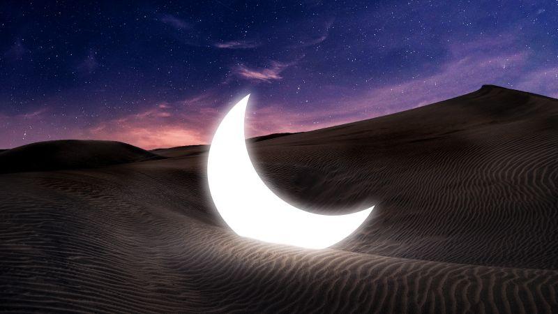 Half moon, Fallen, Desert, Starry sky, Evening sky, Dawn, Sunset, Wallpaper