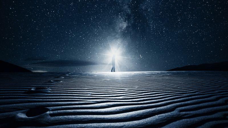 Night, Starry sky, Light, Desert, Sand Dunes, 5K, Wallpaper