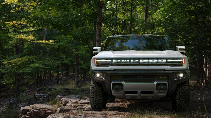 GMC Hummer EV, Electric SUV, Electric trucks, Luxury SUV, Forest, 2022, 5K, Wallpaper