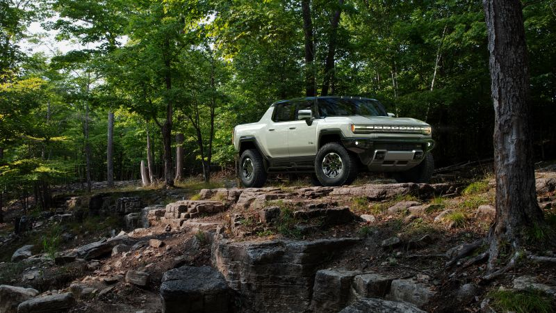 GMC Hummer EV, Electric SUV, Off-roading, Forest, Luxury SUV, Electric trucks, 2022, 5K, Wallpaper