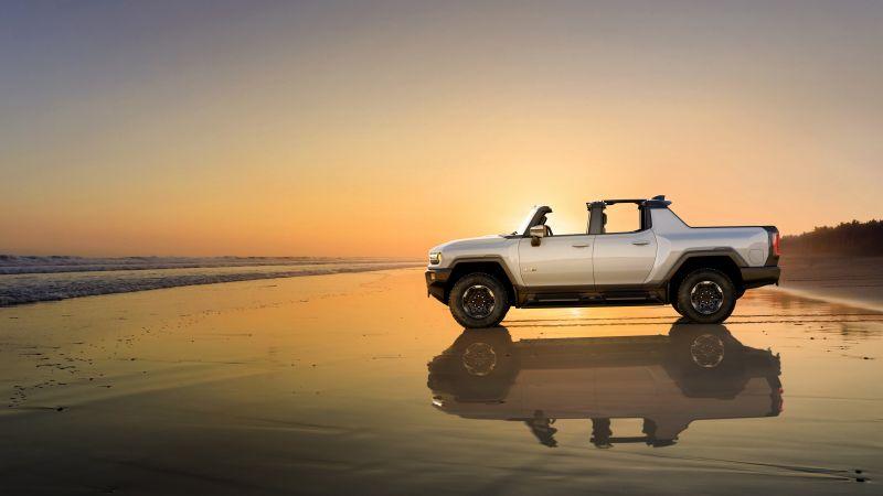GMC Hummer EV, Electric SUV, Beach, Sunset, Luxury SUV, Electric trucks, 2022, 5K, Wallpaper