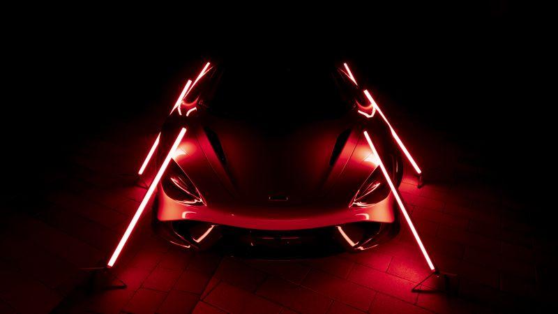 McLaren 765LT, Supercars, Dark background, 2021, Aesthetic, 5K, Wallpaper