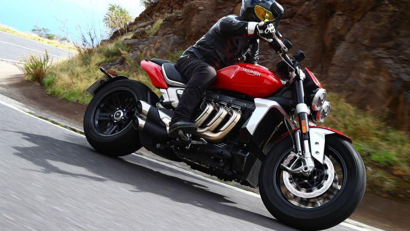 Triumph Rocket 3, Biker, Cruiser motorcycle, 5K, Wallpaper