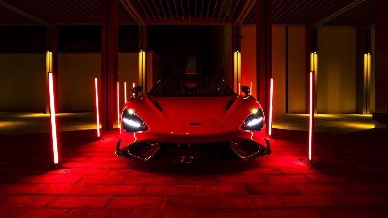 McLaren 765LT, Supercars, 2021, Red cars, Wallpaper