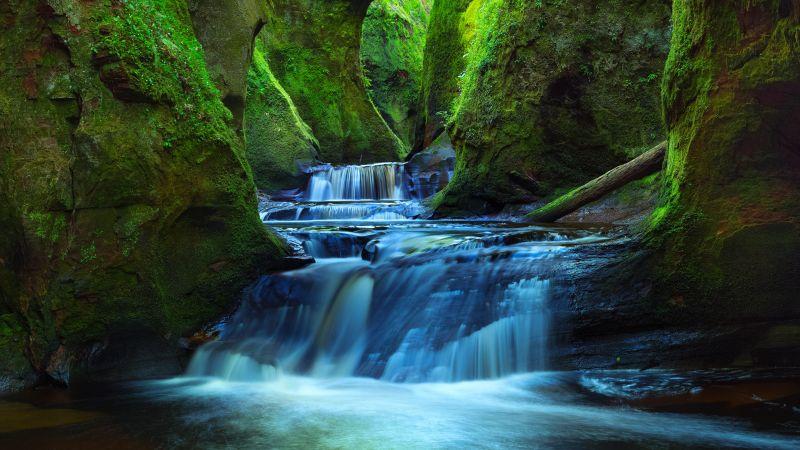 Finnich Glen, River, Waterfall, Stream, Green, Scotland, Tourist attraction, Landscape, Wallpaper