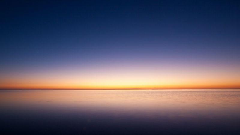 Sunset, Beach, Beautiful, Scenery, Ocean, Clear sky, Horizon, Seascape, Wallpaper