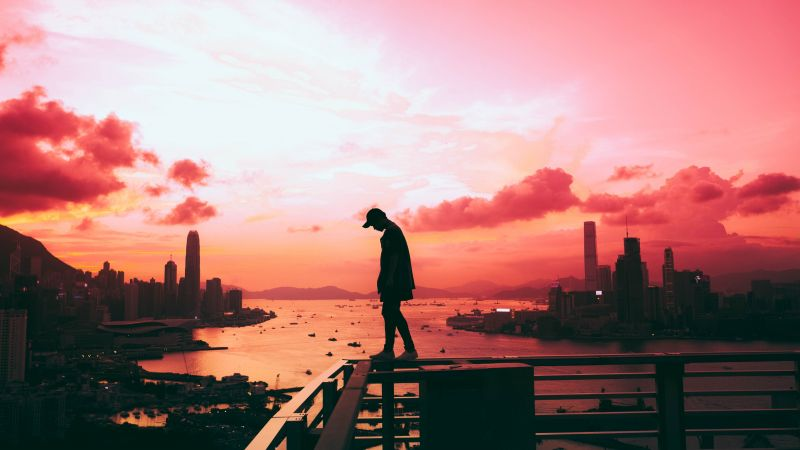Alone, Silhouette, Cityscape, Hong Kong City, Pink sky, Skyscrapers, River, Person, Standing, Clouds, Sunset, Wallpaper