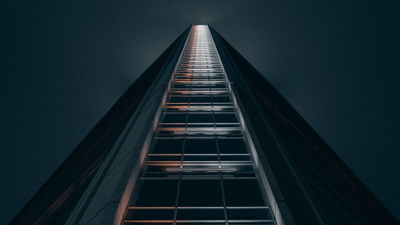 High rise building, Low Angle Photography, Look up, Dark background, Geometrical, Symmetry, 5K, Wallpaper