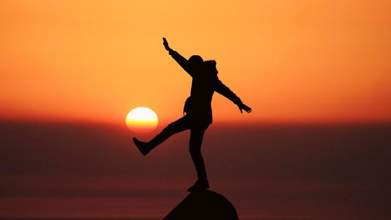 Silhouette, Person, Balance, Sunset, Orange Sky, Dawn, Standing, Rock, 5K, Wallpaper