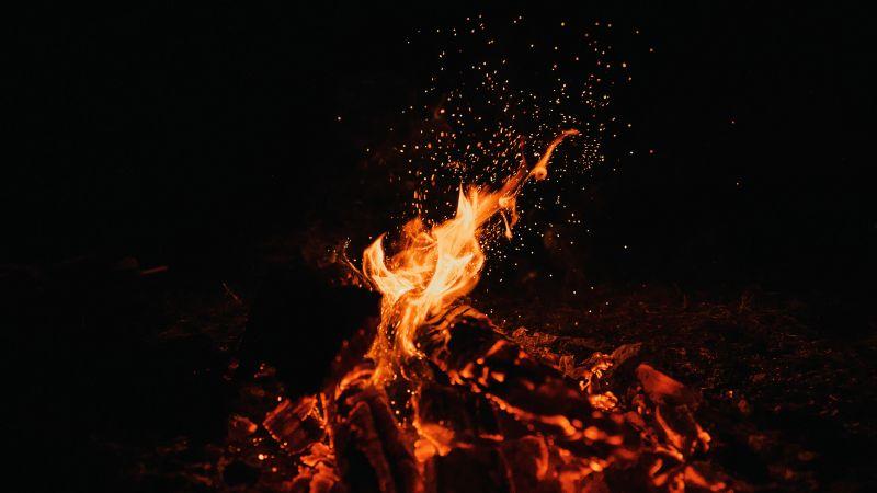 Bonfire, Dark, Black background, Campfire, Flame, Night time, Burning, Outdoor, 5K, Wallpaper
