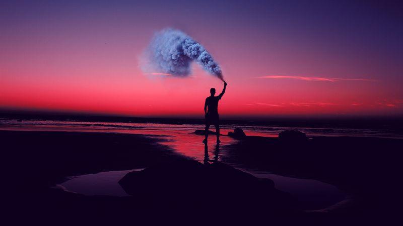 Silhouette, Seashore, Pink sky, Man, Standing, Smoke can, Sunset, Evening sky, Aesthetic, 5K, Wallpaper