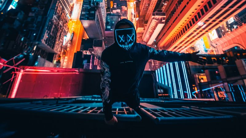 Hong Kong City, Neon Mask, Rooftop, Cityscape, Nightscape, Persons in Mask, City lights, Aerial view, Skyscrapers, 5K, Wallpaper