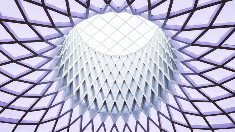 Ceiling, Dome, Pattern, Skylight, Look up, Indoor, Structure, Geometrical, 5K, Wallpaper